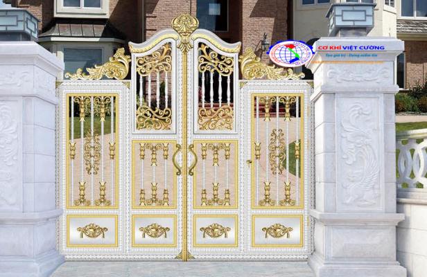 Cửa cổng inox màu vai đầu sư tử - Mẫu 1